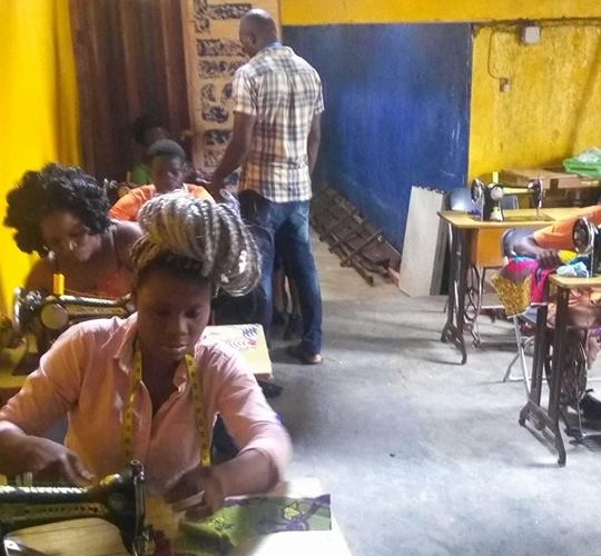 Tailoring Students Making Uniforms for Hotel Management Students