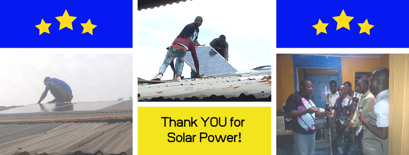 Thanking donors for providing funds to install solar panels.