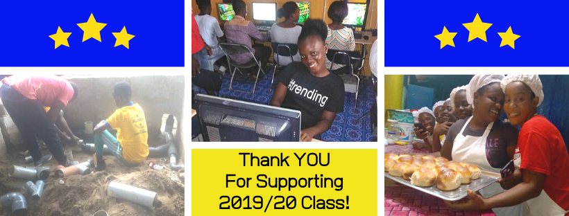 Thanking donors for supporting the 2019/20 vocational training students.