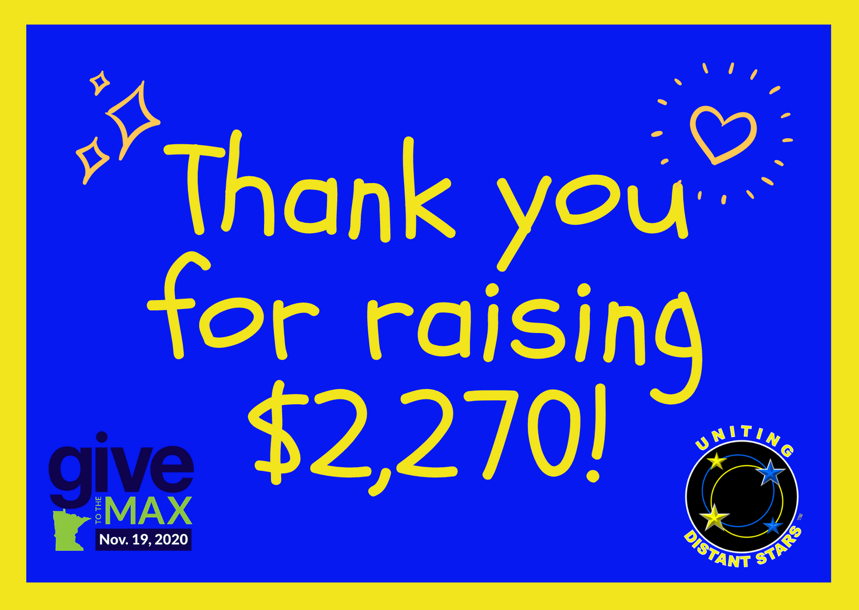 You Raised $2,270 for Give to the Max Day!